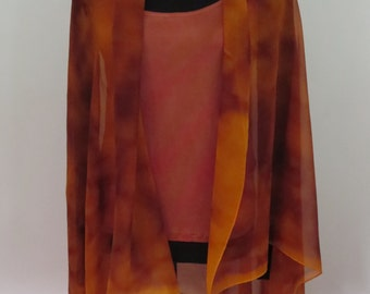 Golden amber colored silk chiffon shawl or scarf