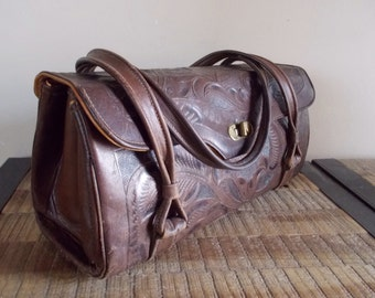 Vintage Avelar Mexico Tooled Leather Hand Bag