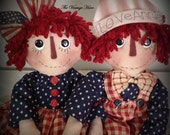 Made to Order ~~~ Primitive Raggedy Ann and Andy Rag Dolls Americana Handmade Handpainted Folk Art HAFAIR OFG Statteam Homespun Society