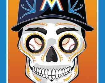 Miami Marlins Sugar Skull Print 11x14 print