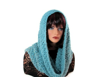 Blue Infinity Scarf, Mens Scarf, Blue Neckwarmer, Womens Scarf, Snood, Medieval, Hood, Cowl, Renaissance, Oversize Cowl, Winter Accessories