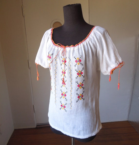 Vintage Peasant Blouse,  White Gauze with Red, Yellow, and Black Embroidery, Women's Small