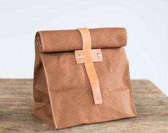 No. 215T Lunch Tote in Cinnamon Duck & Natural Leather