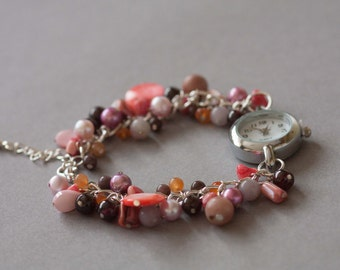 Sunset beaded watch bracelet OOAK