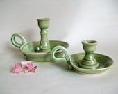 Candlestick Holders  with Handles - Set of 2 - Spring Green