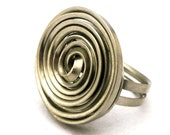Wire Wrap Spiral Ring Boho Ring German Silver Ring Metalwork Ring Womens Ring Twist Ring Big Ring Handmade Ring Bohemian Jewelry Wire Work