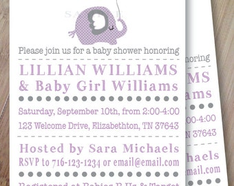 Elephant Balloon Dreams, Set of 10 Personalized Baby Shower or Birthday Invitations, Professionally Printed, Safari, Jungle