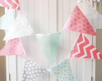 Shabby Chic Banner, Girl Party Bunting, Cotton Fabric Pennant Flags, Turquoise, Pink, Grey, Baby Girl Nursery Decor, Photo Prop, Wedding