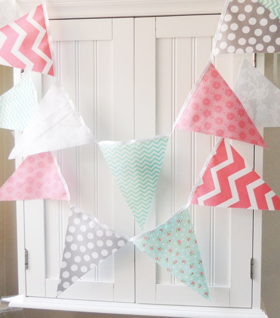 Shabby chic banner girl party bunting cotton fabric pennant for Pink and grey nursery fabric