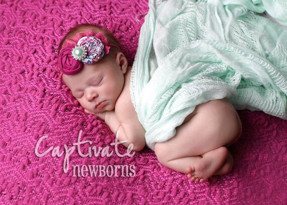 Peyton- magenta and aqua double rosette headband with lace and pearl