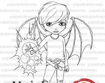Dillon Magic - Paperbabe Stamps - Red Rubber Cling Mounted Stamps - Cute Boy for paper crafting and scrapbooking.