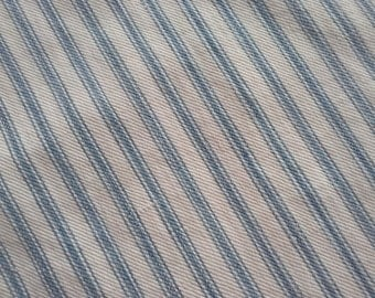 Antique Soft Blue Fabric Mattress Ticking- Faded To SOFT BLUE- Dolls Clothes Projects- Half Yard