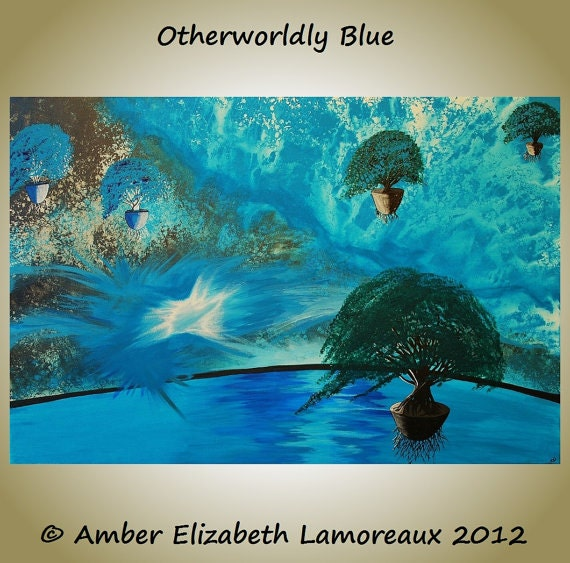 Fine Art Giclee Print of Original Painting Otherworldly Blue Amber Elizabeth Lamoreaux Surreal Floating Trees Water Turquoise Aqua