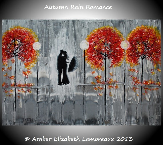 Fine Art Giclee Print of Original Painting Autumn Rain Romance Amber Elizabeth Lamoreaux Fall Silhouette Couple Rainy Street Love