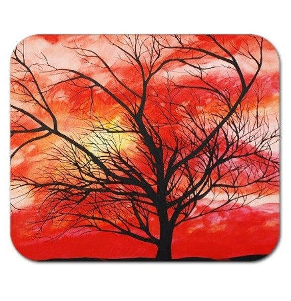 Mousepad Mouse Pad Fine Art Painting Orange Colored Sky Tree Silhouette Windy Sunset