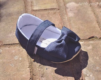 Baby Girl Shoes Toddler Girl Shoes Soft Soled Shoes Wedding Shoes Easter Shoes Flower Girl Shoes Navy Shoes Faux Silk Faux Dupioni  - Everly