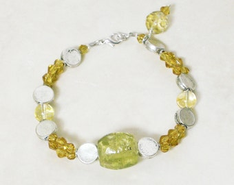 Beaded bracelet with cheery yellow glass beads
