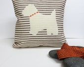 Ivory Felt Westie Pillow Cover - Decorative Accent Cushion - Your choice of Ticking