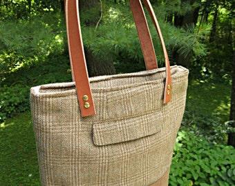 50% OFF! Brown waxed canvas tote bag, recycled suit coat bag, brown plaid, shoulder bag, wool tweed tote bag