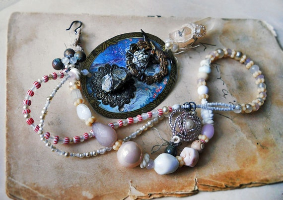 CLEARANCE SALE || Beaded  Necklace - Glass Pearls, Vintage Plastic - Assemblage Pendant - Crystal Points - Rustic Necklace