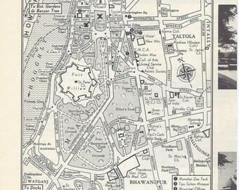 Calcutta India Map, City Map, Street Map, 1950s, Black and White, Retro Map Decor, City Street Grid, Historic Map