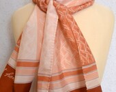 Long vintage scarf: Guy St. Honoré with Pale Pink, Blush and Rose Stripes and Leaves