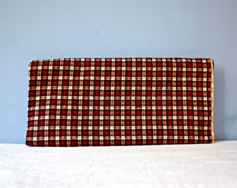 Plaid Flannel Fabric Check Cotton Flannel Red Brown Vintage 1950s Fabric Yardage 3+ Yard Remnant Piece Blanket Quilting