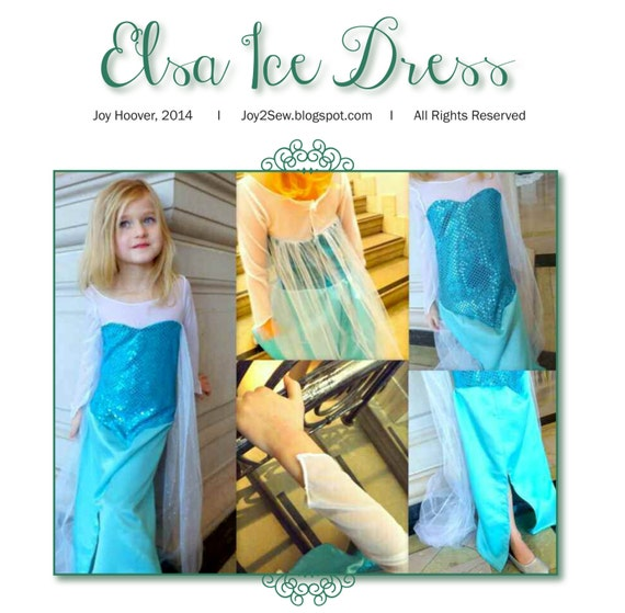Elsa Frozen Ice Dress PDF Pattern - Pattern Sizes Include: 18-24 months, 2/3, 4/5, 6/7, and 8/9