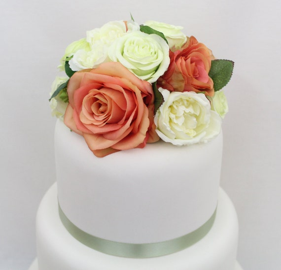 Silk Flower Wedding Cake Toppers: Wedding Cake Topper Coral Light Green And Cream Rose Silk