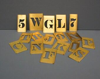 1 Vintage brass stencil - Select Alphabet Letter and Number