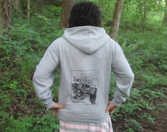 Forest Hoodie - Large Unless...  Lorax Theme Clearcut Print, Small, Grey - punk hoody, dr seuss screenprint, environmental, sweatshirt hoody