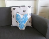 Plush Owl Pillow. Hand Woodblock Printed. Choose ANY Color. Made to Order.