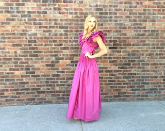 1970s Vintage Designer Victor Costa for Neiman Marcus Ruffle Violet Dress - Prom, Bridesmaid, Special Occasion, Wedding