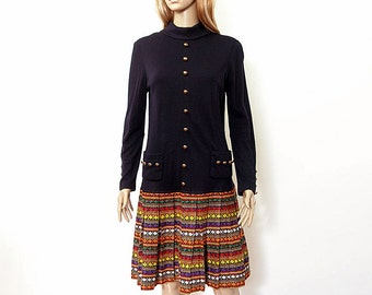 Vintage1960s Drop Waist Dress Black Multi Color Pleated Skirt Dress / Small
