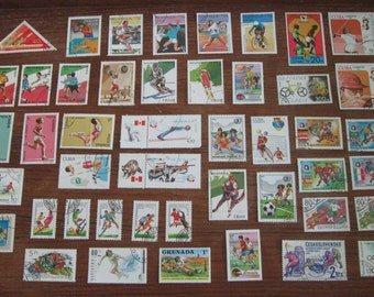 46 SPORTS Postage Stamps, Summer and Winter, 1970s - 1990s STAMP SPECIAL: Any 3 sets for 12 Dollars