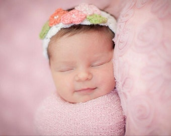 Baby Flower Stretch Headband Posies and Pearls Photo Prop