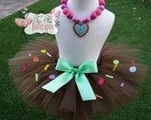 VANELLOPE VON SCHWEETZ inspired- Brown and Mint baby/child Tutu with hairbow:  Newborn-5T