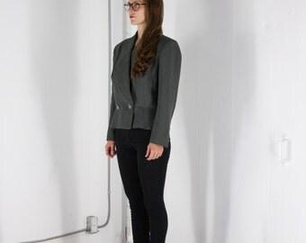 ON SALE Short Double Breasted Jacket / Dark Grey Professional Blazer / Long Sleeve Cropped Blazer