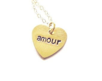 Amour Necklace Heart Charm Jewelry Dainty Gold Small French Pendant Love Paris Lover France Accessories Wife Girlfriend Womens Gift For Her