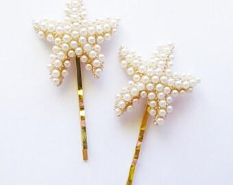 Starfish Bobby Pins Bridal Hair Clips Bride Bridesmaid Pearl Ariel Mermaid Ocean Sea Beach Wedding Accessories Unique Womens Gift For Her
