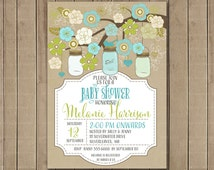 Mason Jars Baby Shower Invitation - Lime and Aqua Digital Printable Invitation 0137
