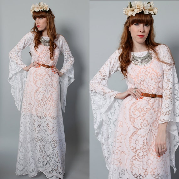 Vintage boho hippie wedding dress long white crocheted for Angel wings wedding dress