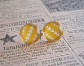Yellow & White Geometric Earrings - Silver Plated - FREE US Shipping - E1