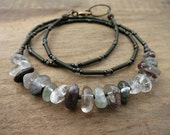 Rustic Lodolite Quartz Necklace, green, brown and clear inclusion garden quartz pebble jewelry, great for everyday wear