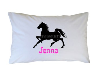 Personalized Black Stallion Pillow Case - Toddler - Travel Standard Size Horse Pillowcase - White Cotton