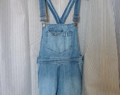 vintage 90's grunge blue denim overall dress
