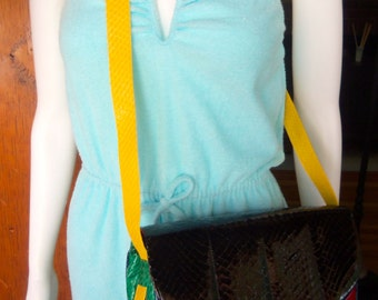 70s ANDREA PFISTER for Neiman Marcus--Colorblock Snakeskin Bag--Never Used with Box, Tag, and Dustbag--Primary Colors