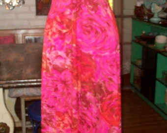 70s VANITY FAIR--Jersey Maxi Dress--I Never Promised You A Rose Garden--Racer Back--Lush Roses