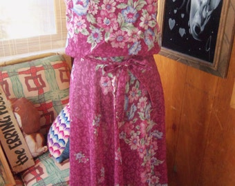 80s FLORAL VOILE SUNDRESS--Mulberry Color--Poly/Cotton Voile--Floral--Matching Sash--Size 8