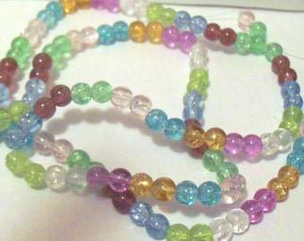 Rainbow Crackle Glass Round Spacer Beads, 6mm, Strand